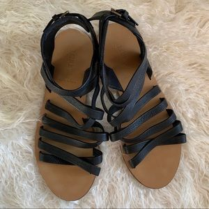J. Crew Black Strappy Leather Sandals Women's 8